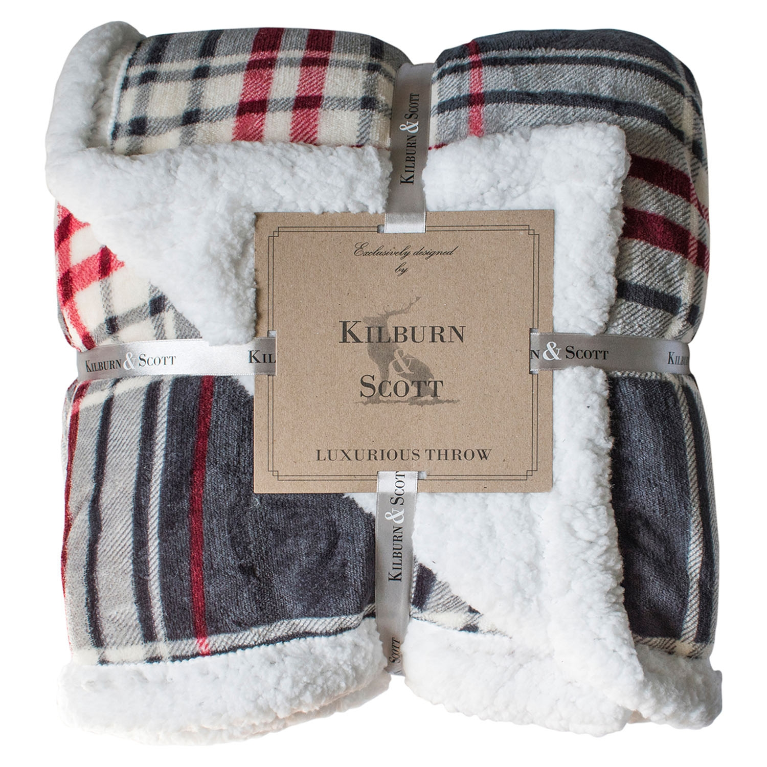 Image of Gallery Check Sherpa Throw, 152 x 177cm, Grey & Red