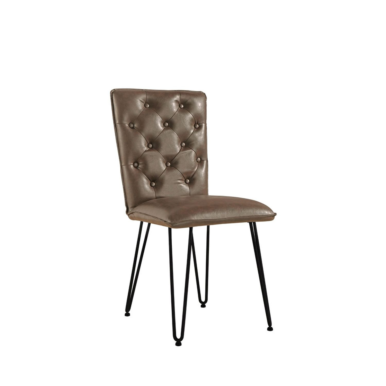 Image of Casa Pair Of Studded Dining Chairs, Brown
