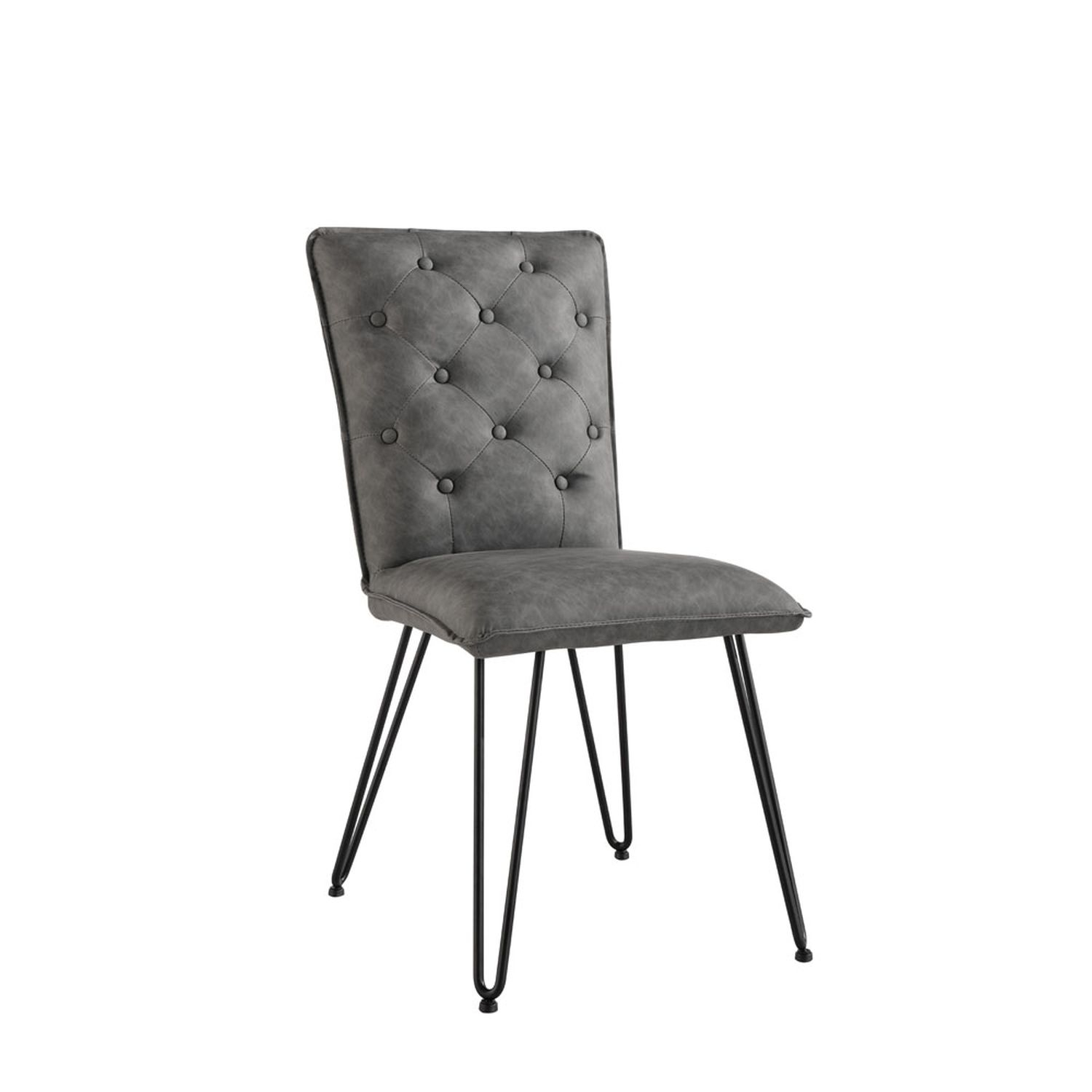 Image of Casa Pair Of Studded Dining Chairs, Grey