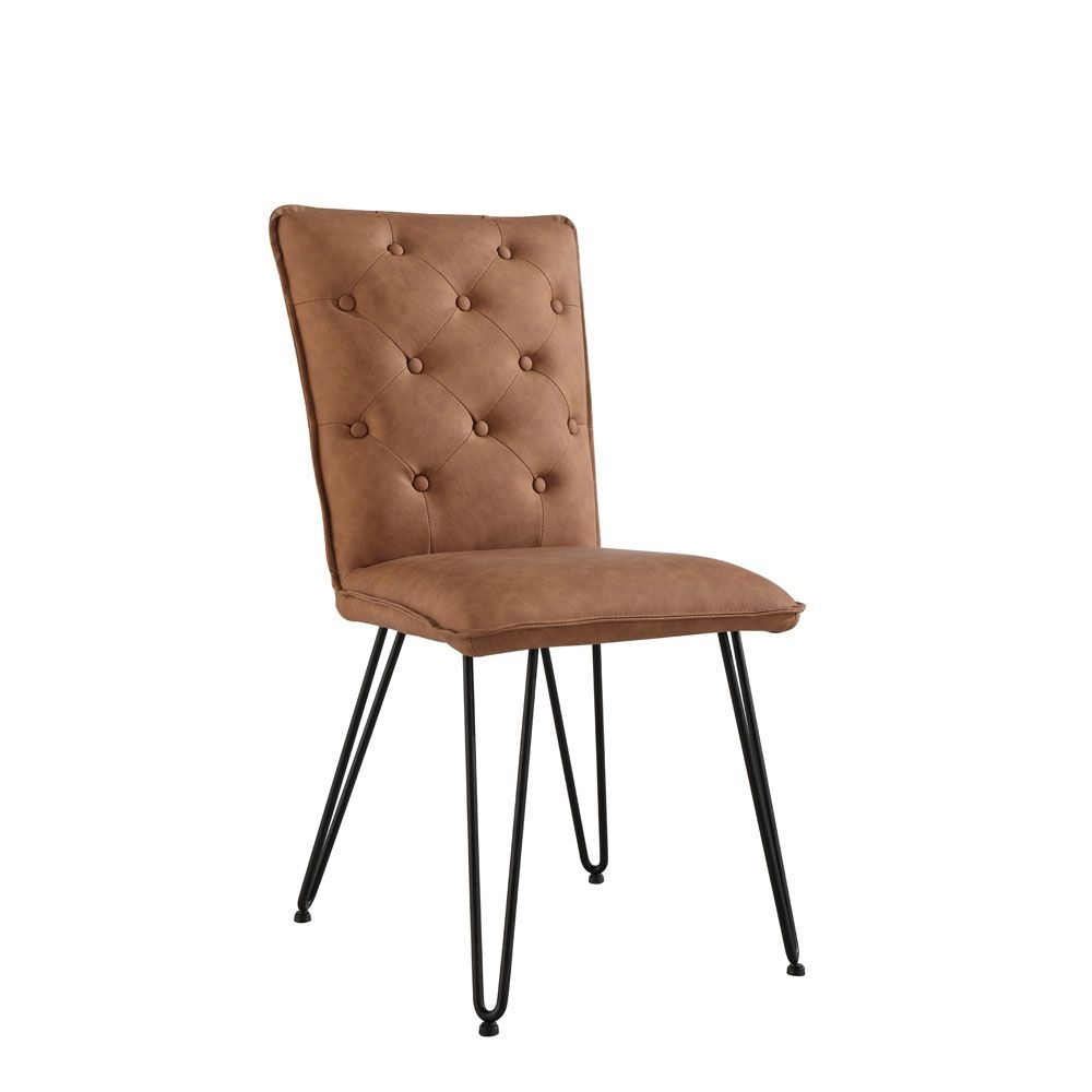 Image of Casa Pair Of Studded Dining Chairs, Tan