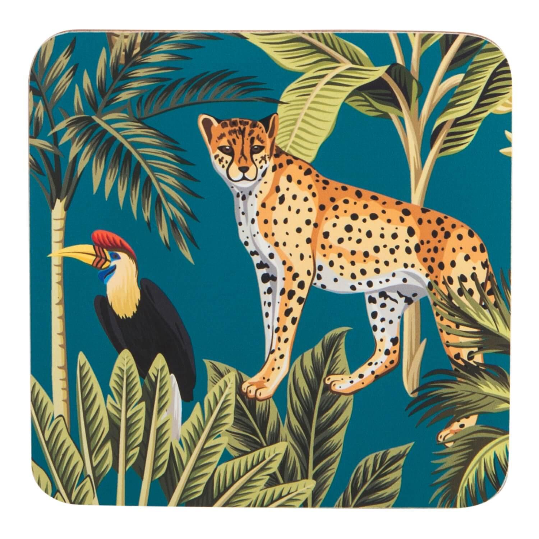 Image of Madagascar Cheetah Coasters, Teal