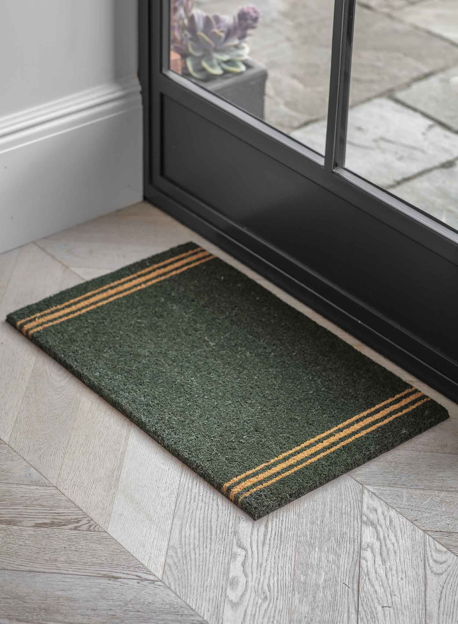 Image of Garden Trading Small Triple Stripe Doormat, Forest Green