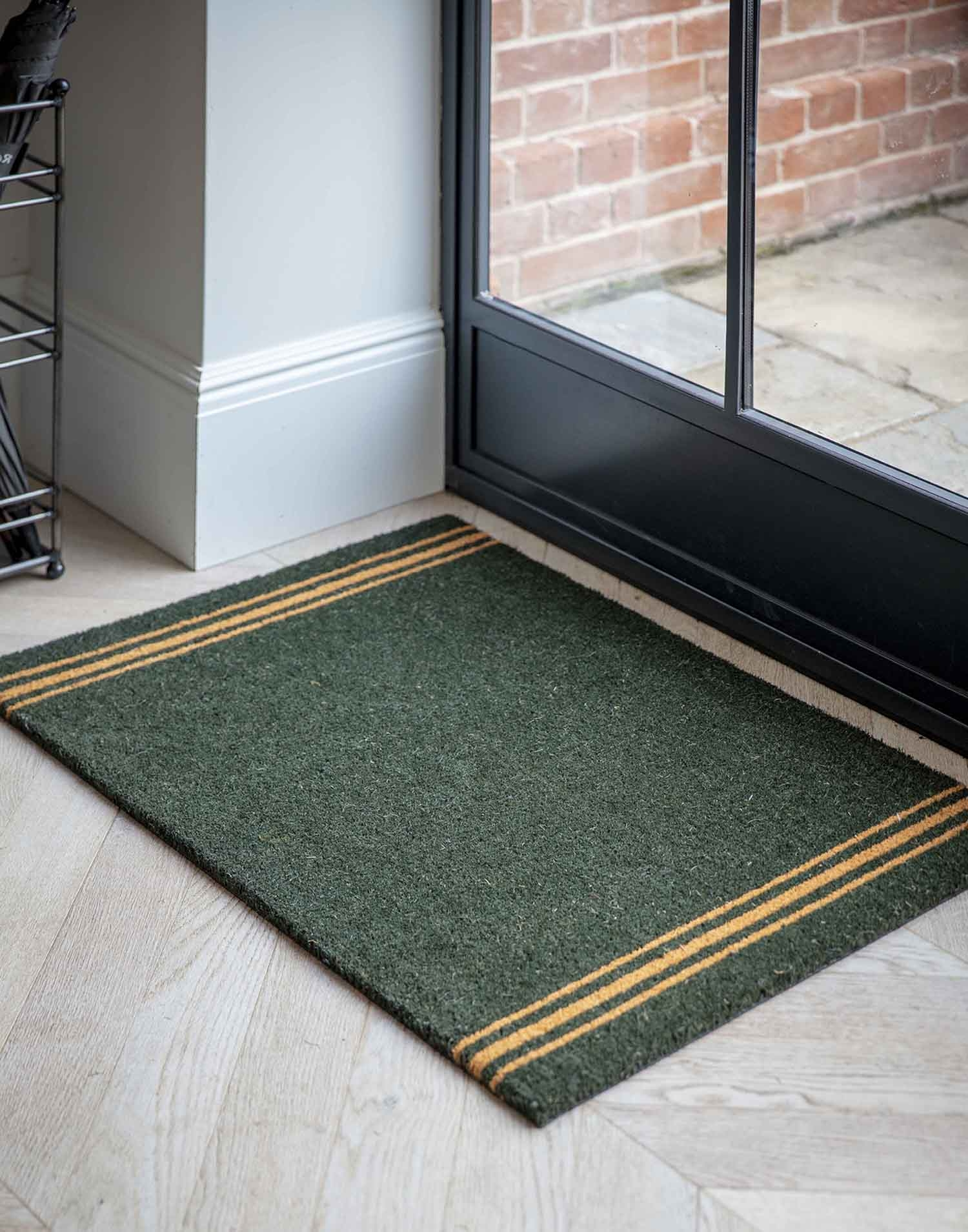 Image of Garden Trading Large Triple Stripe Doormat, Forest Green
