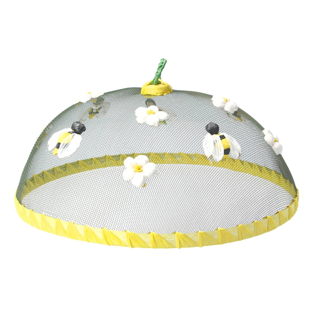 Image of Gisela Graham Bee & Flower Raffia Food Cover, Yellow