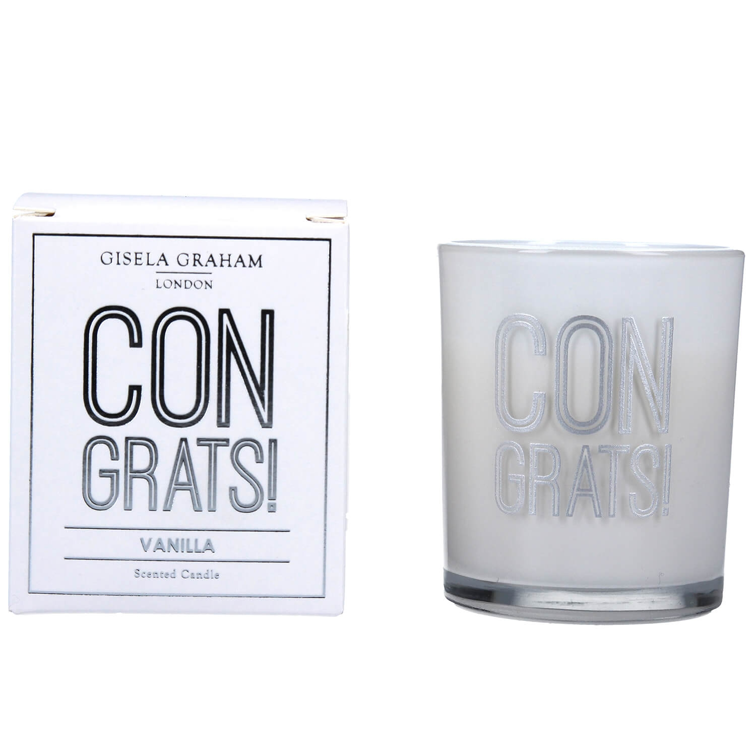 Image of Gisela Graham Congrats Scented Boxed Candle, White
