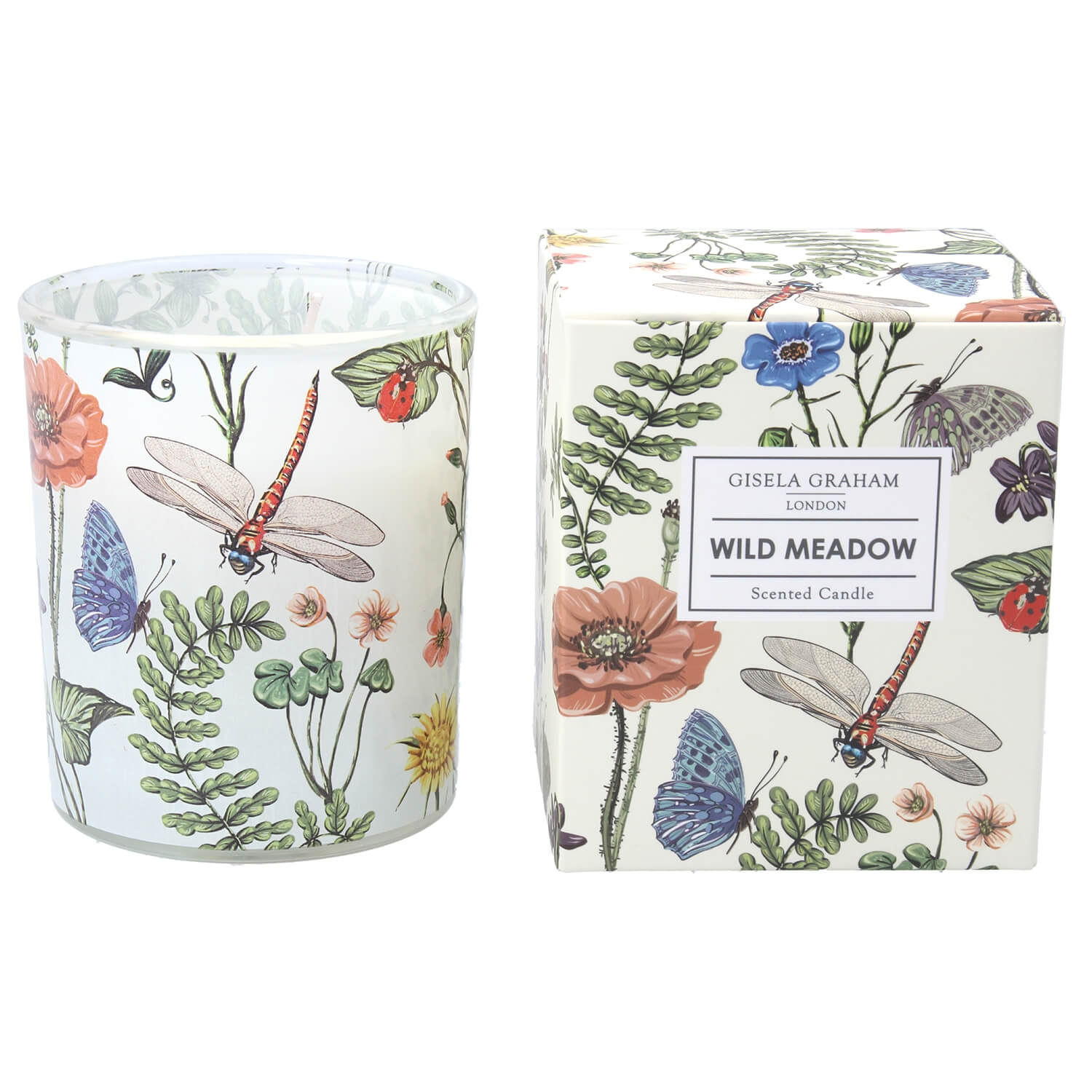 Image of Gisela Graham Flora Fauna Scented Candle Pot, White