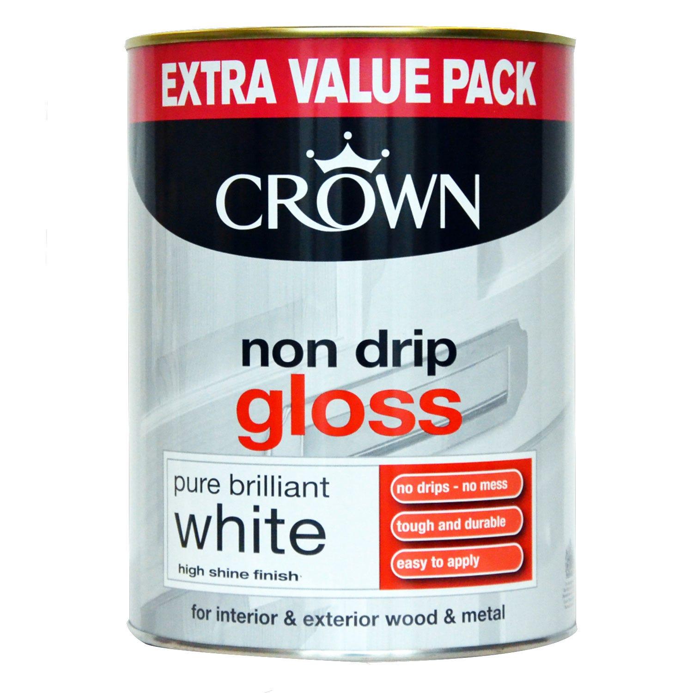 Image of Crown 1.25L Non Drip Gloss, Pure Brilliant White