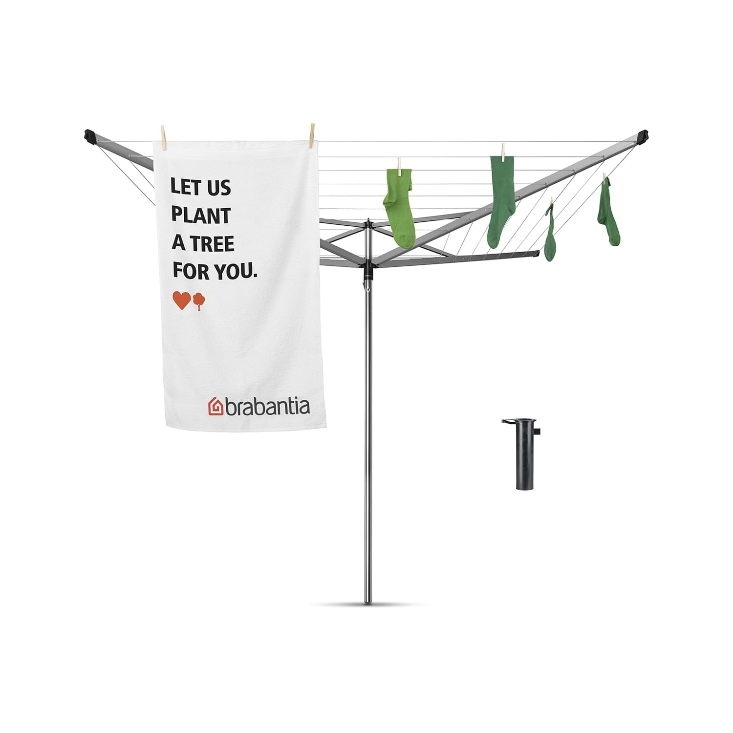 Image of Brabantia 40m 4 Arm Compact Rotary Drier, Metallic Grey