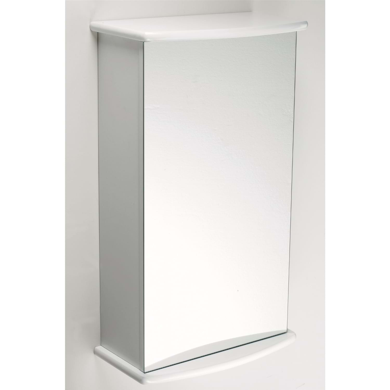 Lloyd pascal single door mirrored cabinet white for White mirrored cabinet