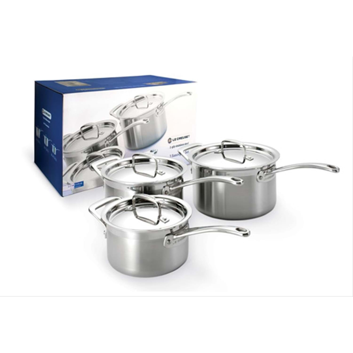 Image of Le Creuset 3-ply Stainless Steel 3 Piece Saucepan Set