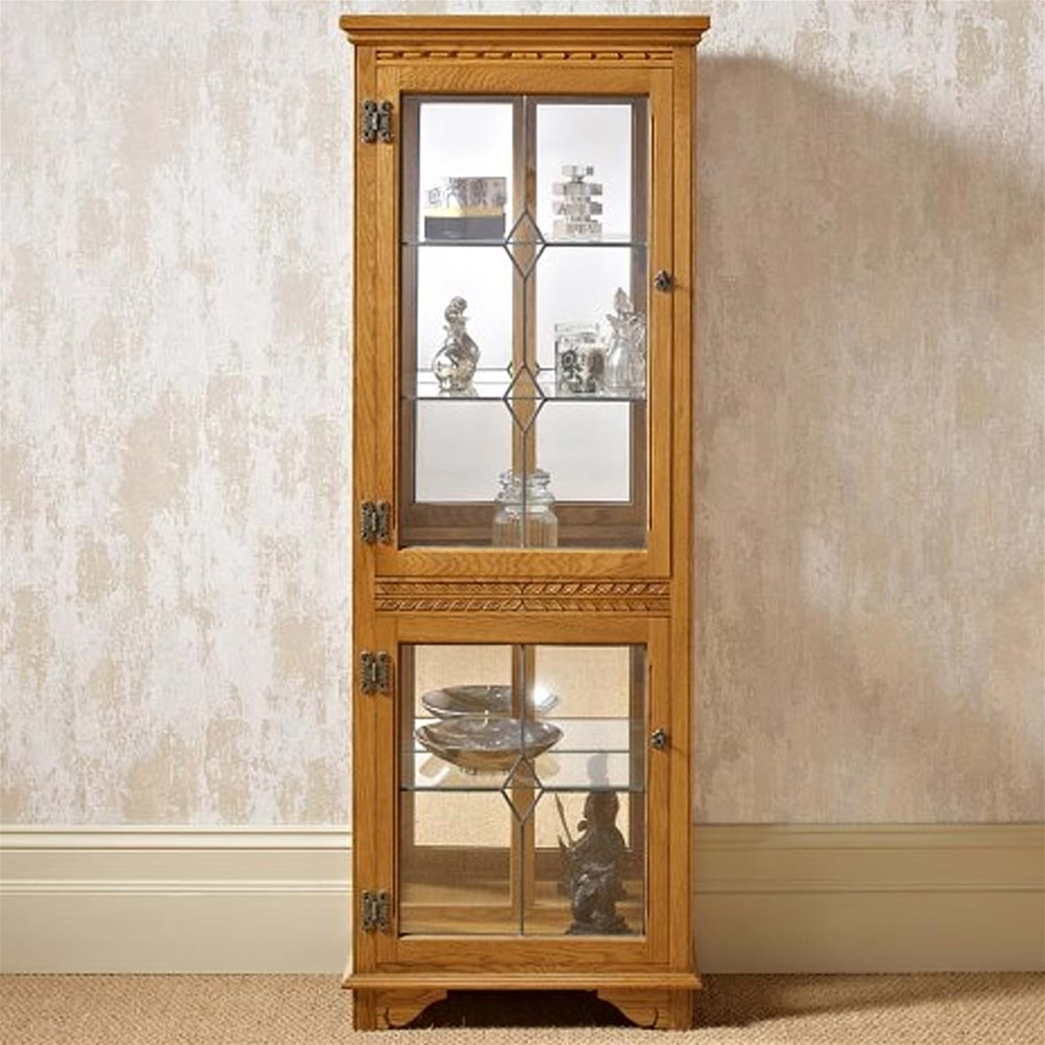 Old Charm Two Drawer Display Cabinet with Light