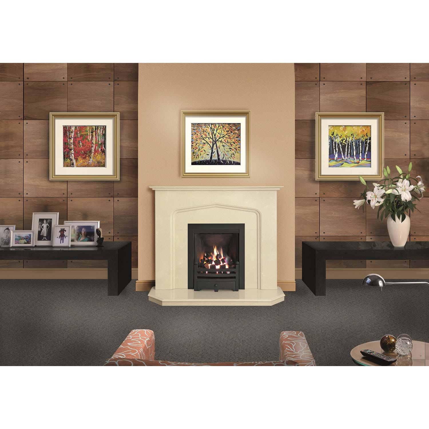 cream micromarble fire surround set. Black Bedroom Furniture Sets. Home Design Ideas