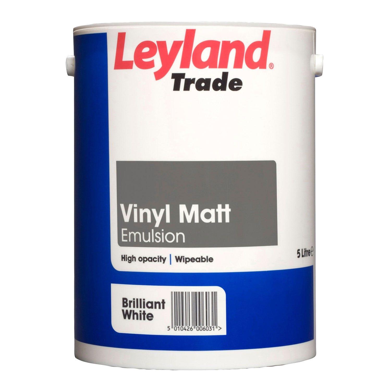 Image of Leyland 5L Vinyl Matt Emulsion Paint, Pure Brilliant White
