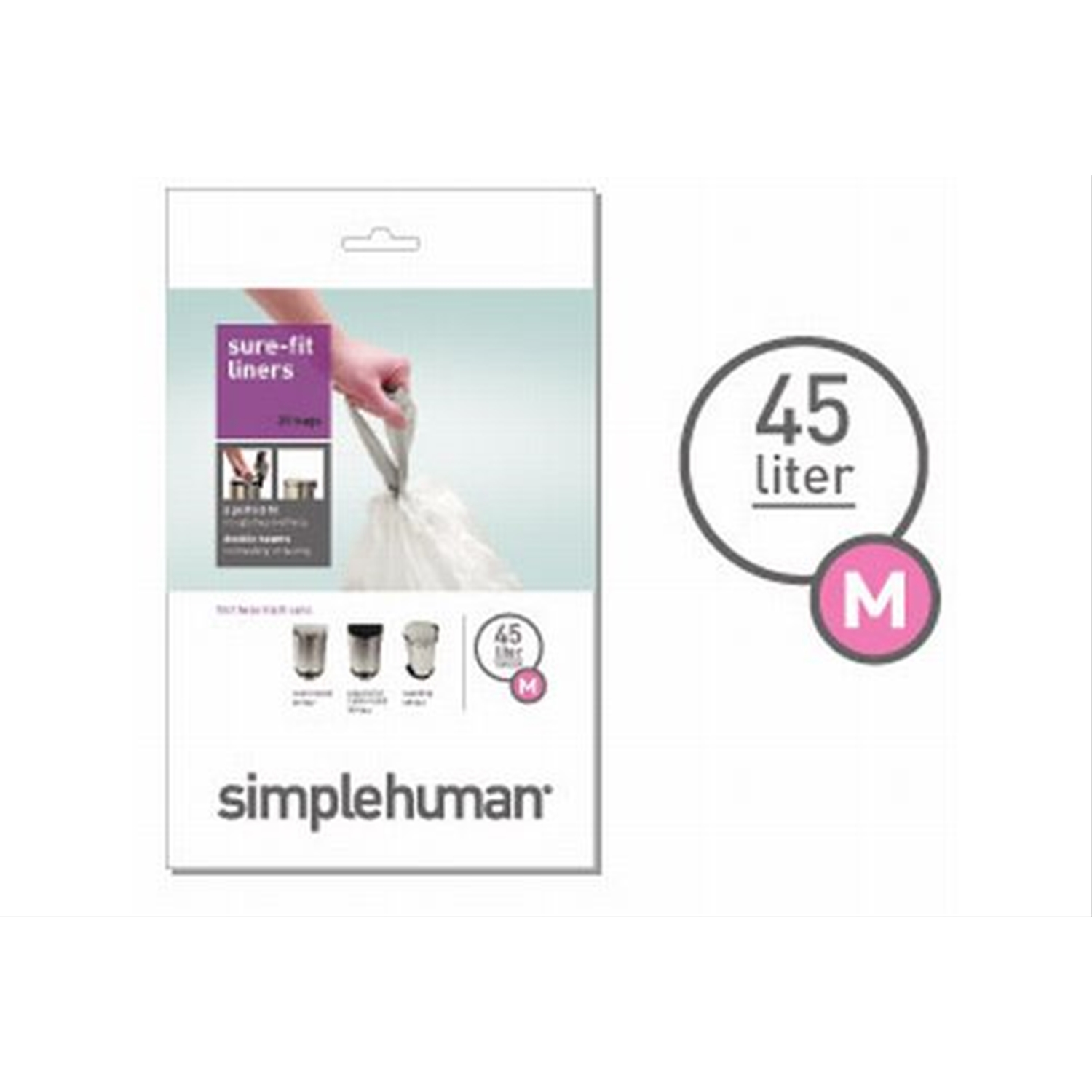 Simplehuman 40 Litre Swing Bin Liners, Pack Of 20