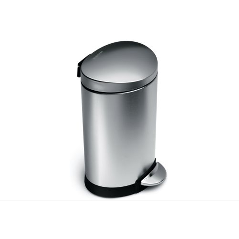 Image of Simplehuman 6L Semi Round Pedal Bin, Brushed Steel