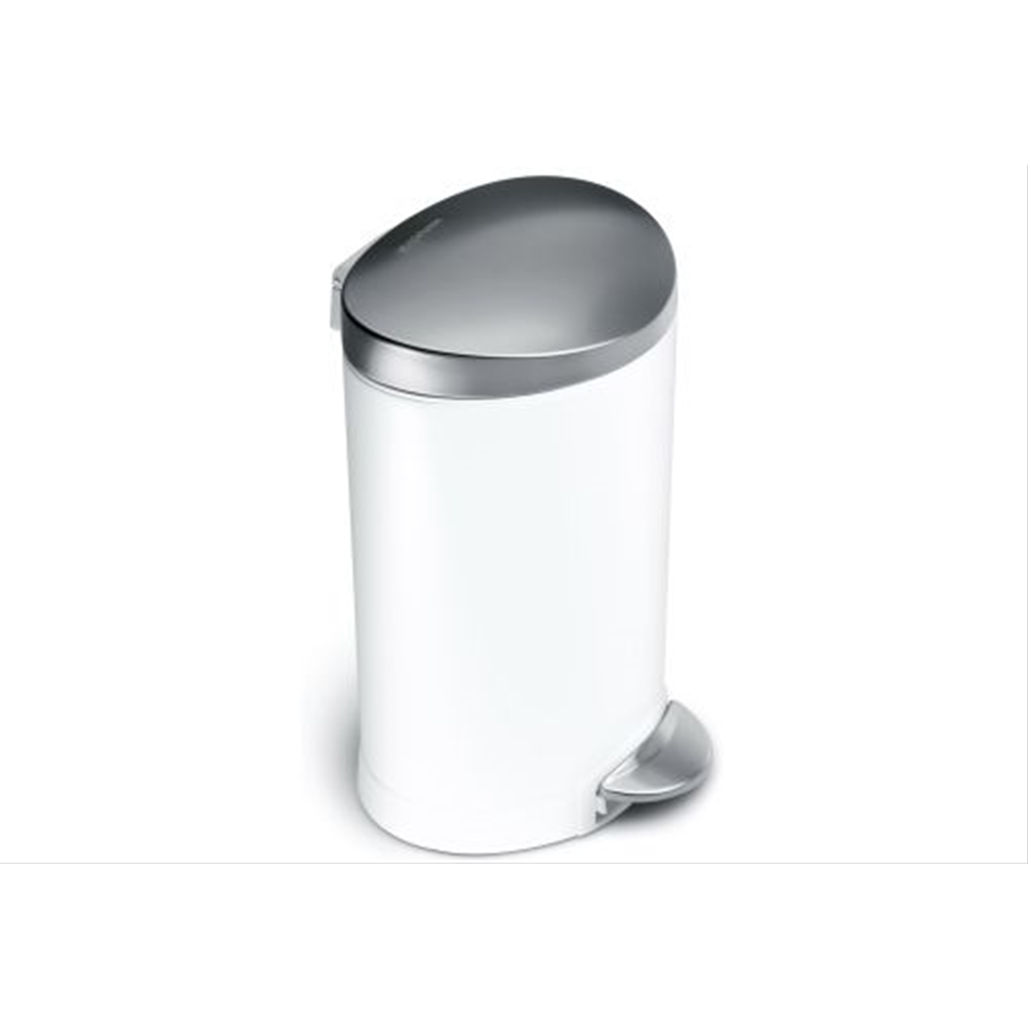 Image of Simplehuman 6L Semi Round Pedal Bin, White & Stainless Steel