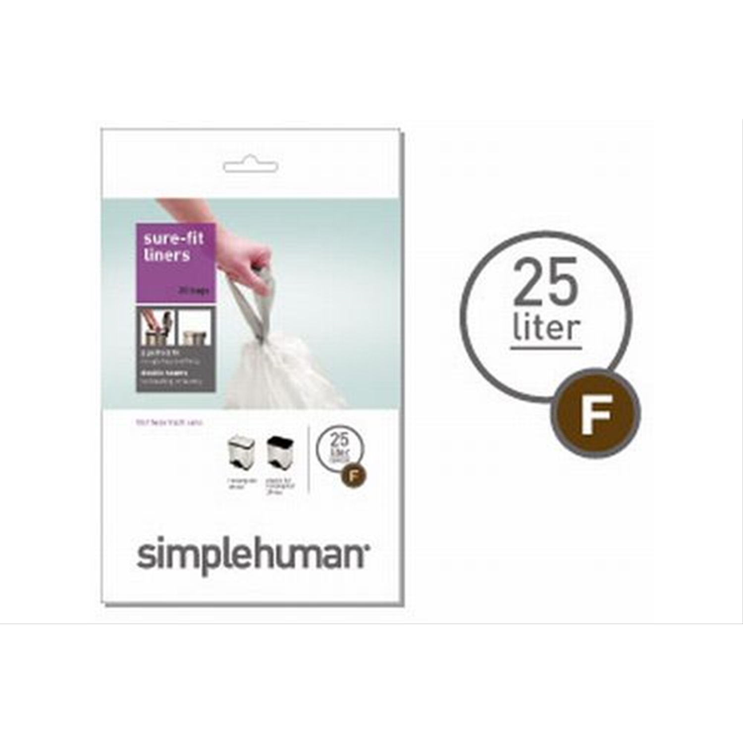 Image of Simplehuman Bin Liners 25L, Code F, (Pack of 20)