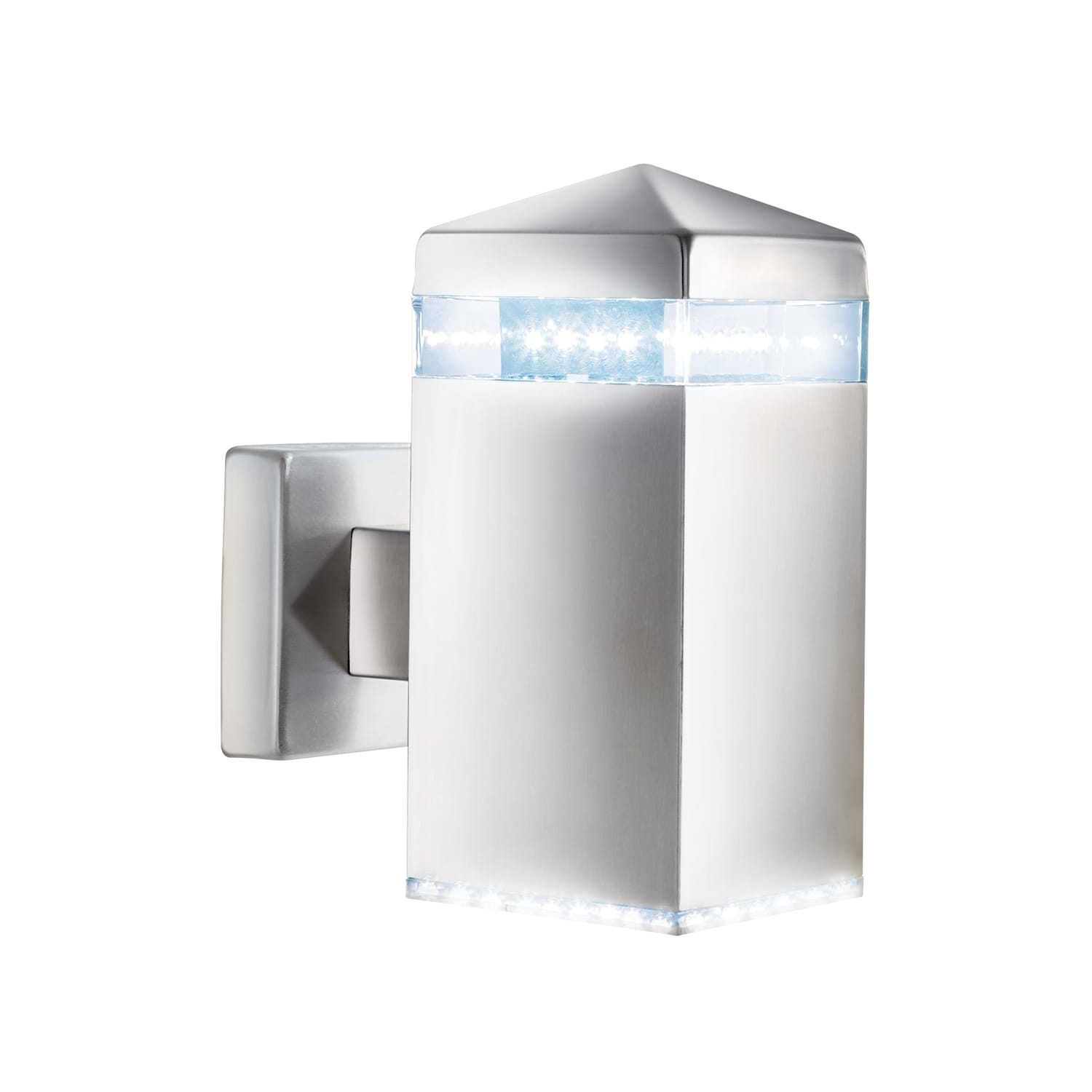 Led Outdoor Wall Light, Satin Silver