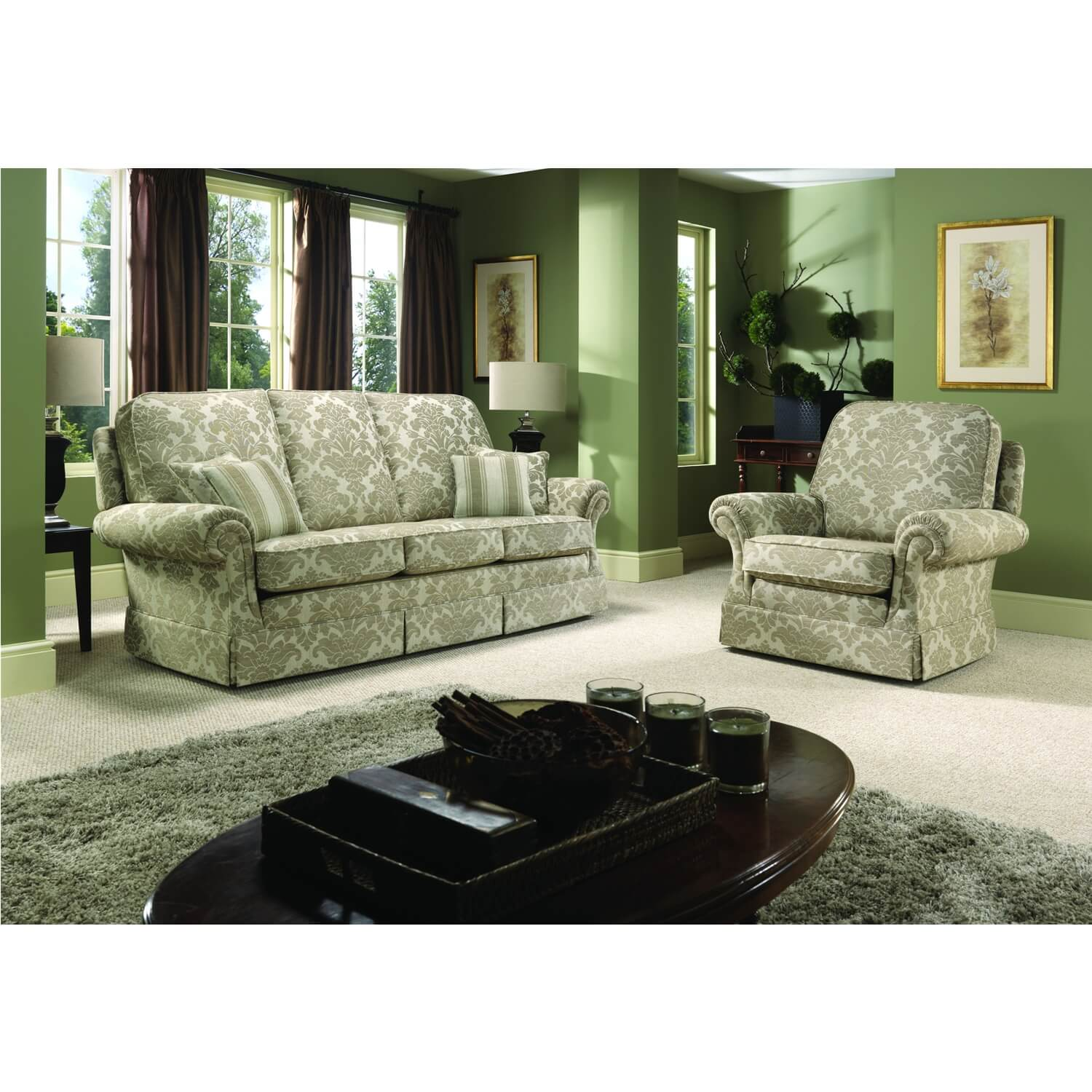 Image of Bridgecraft Chartwell 3 Seater Fabric Sofa