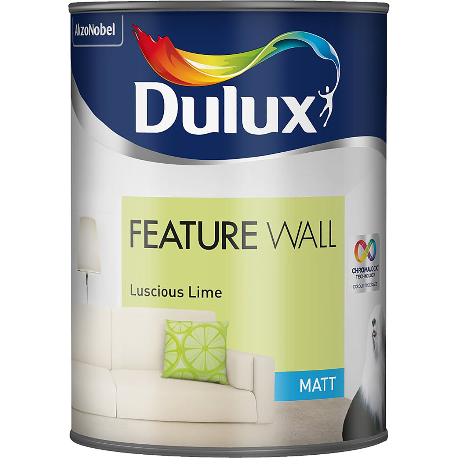 Image of Dulux 1.25L Feature Wall Matt Emulsion Paint, Luscious Lime