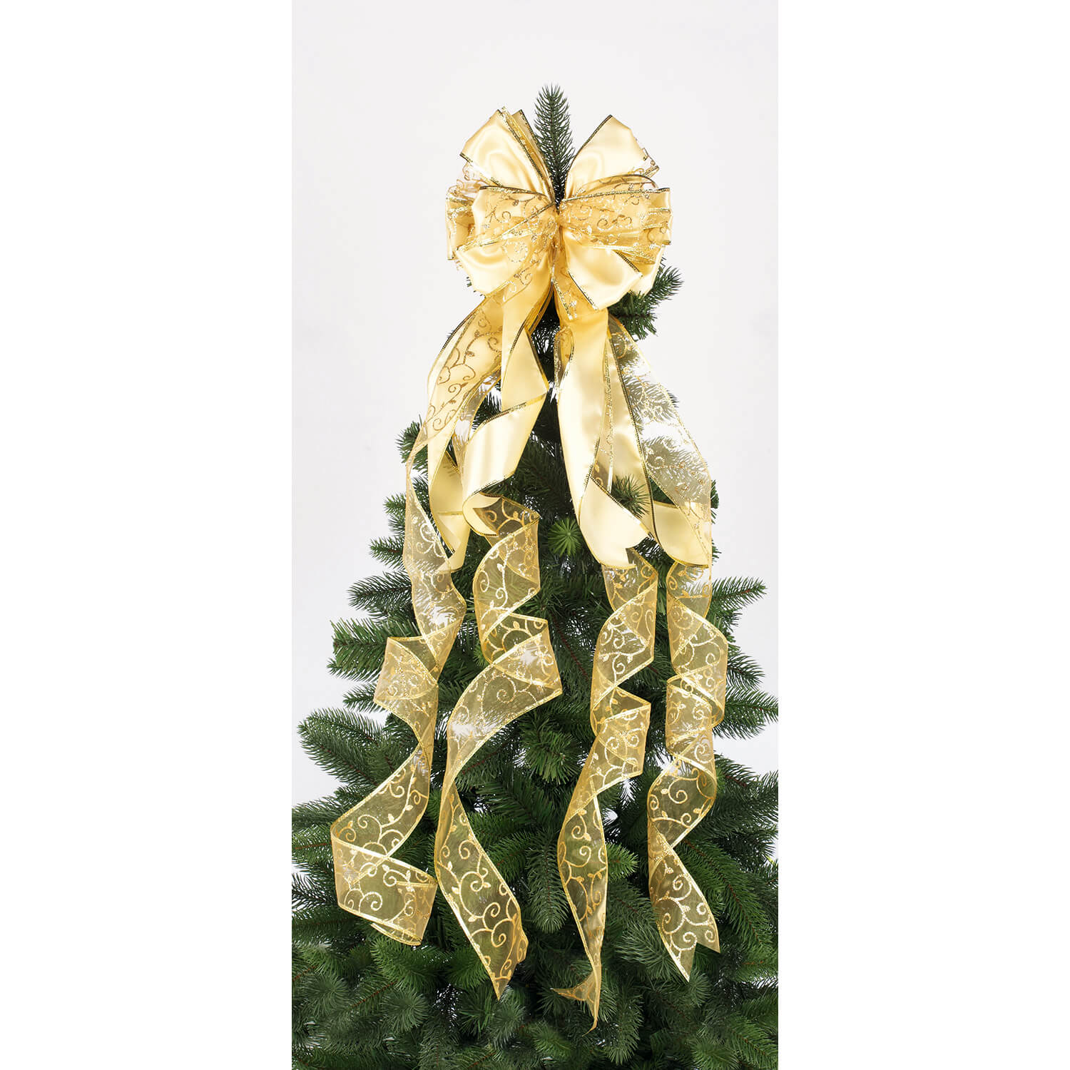 Premier Velvet Bow Tree Topper, Gold | Leekes