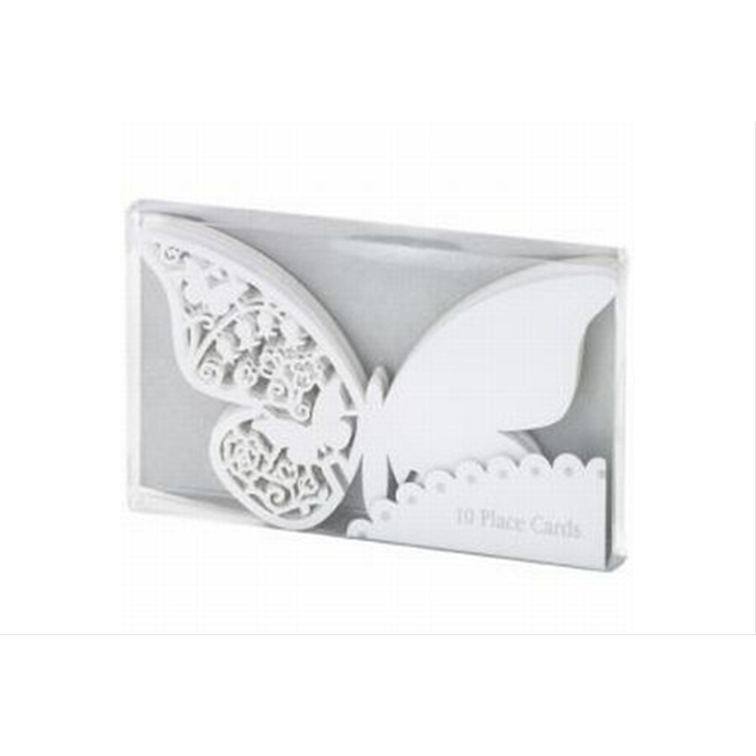 10 Pack White Butterfly Place Cards