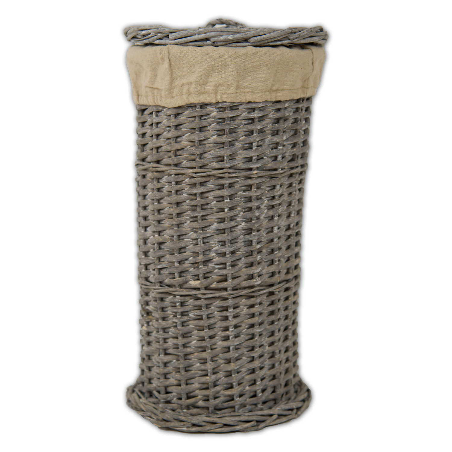 Image of Casa Grey Round Wicker Toilet Roll Holder