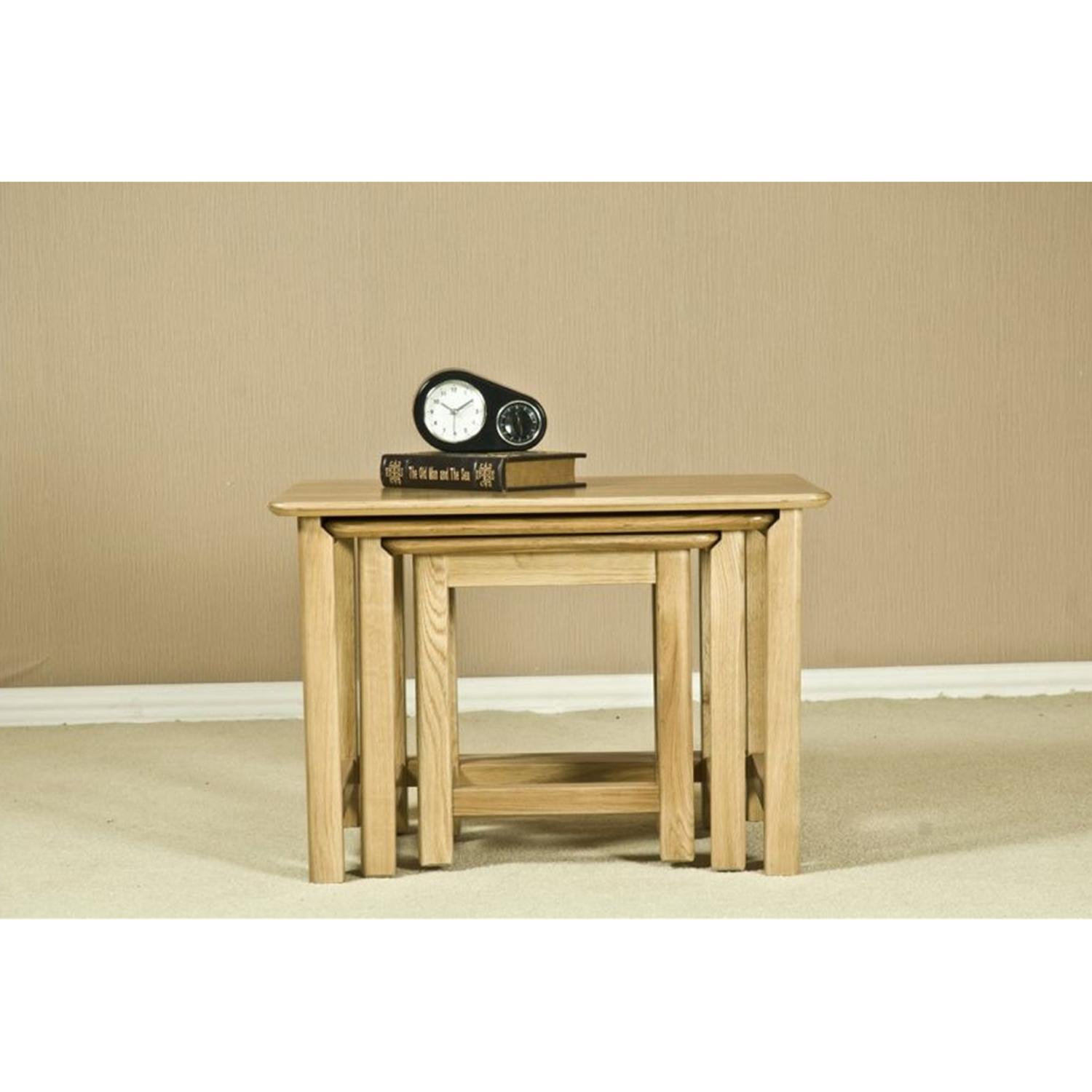 Ashcraft Toulouse Glass Top Nest Of Tables Beech