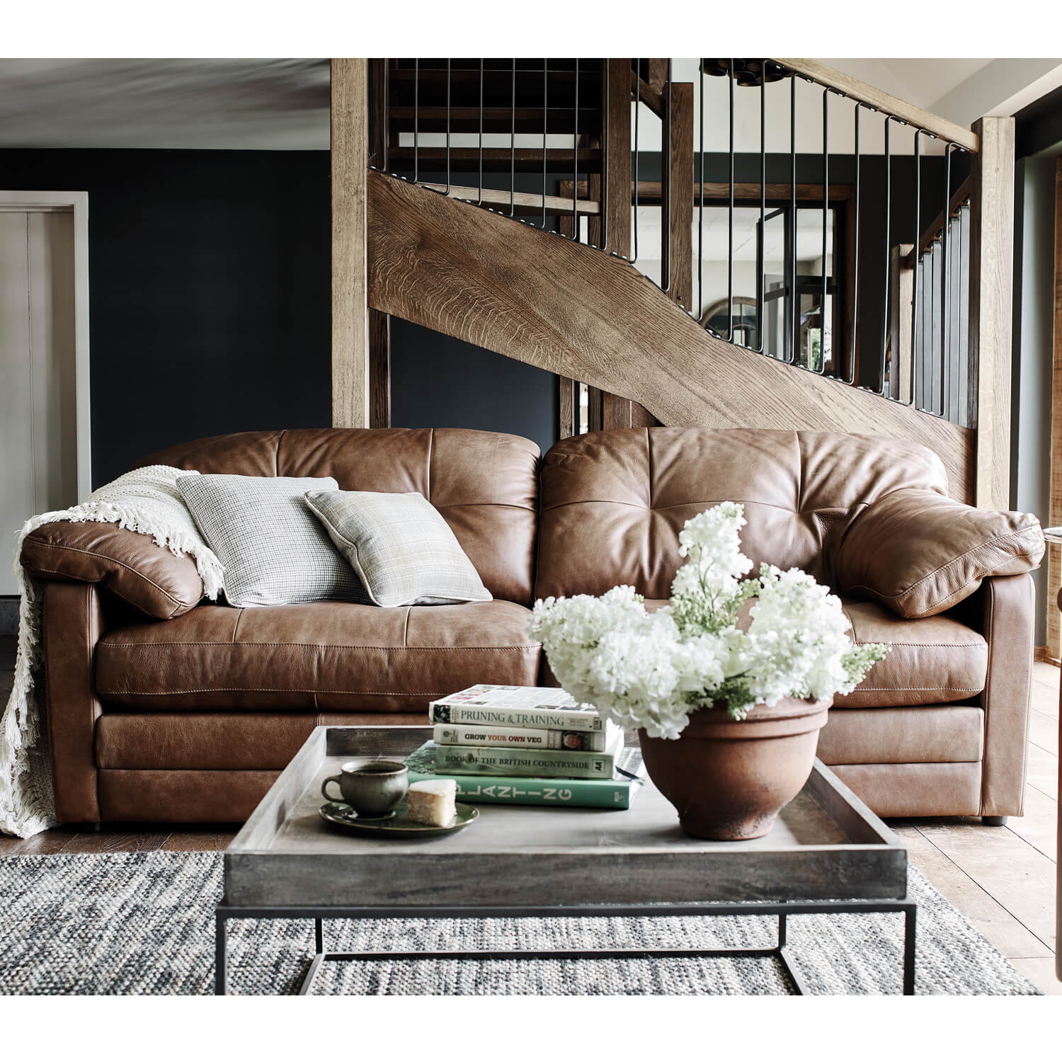 Image of Alexander & James Bailey 3 Seater Leather Sofa