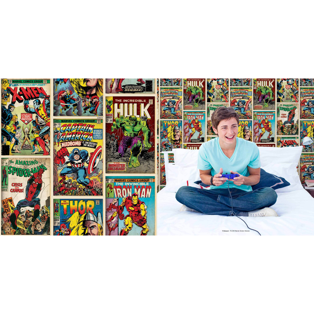 Image of Graham & Brown Marvel Action Heroes Wallpaper