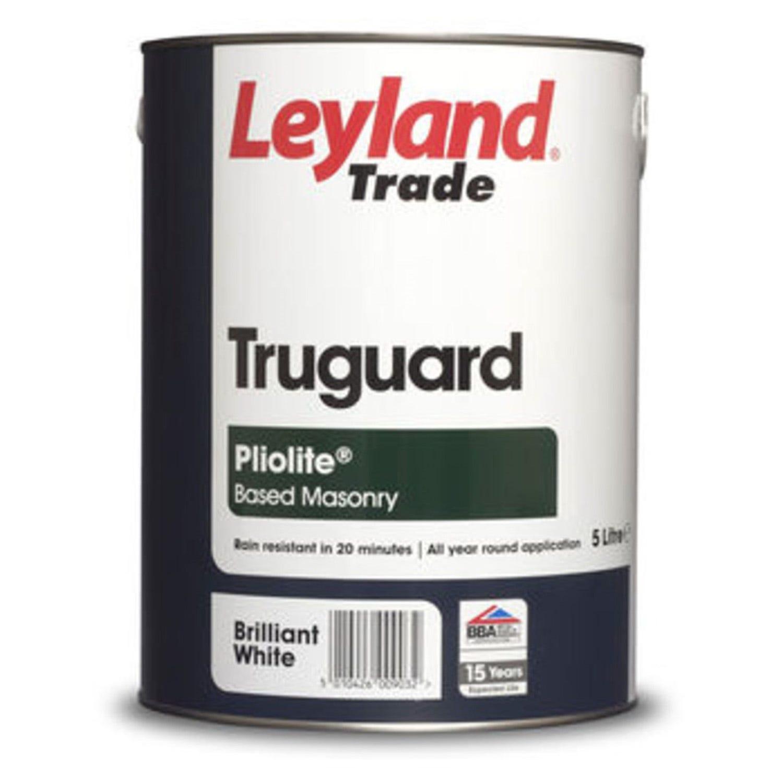 Image of Leyland 5L Truguard Pliolite Masonry Paint, Brilliant White