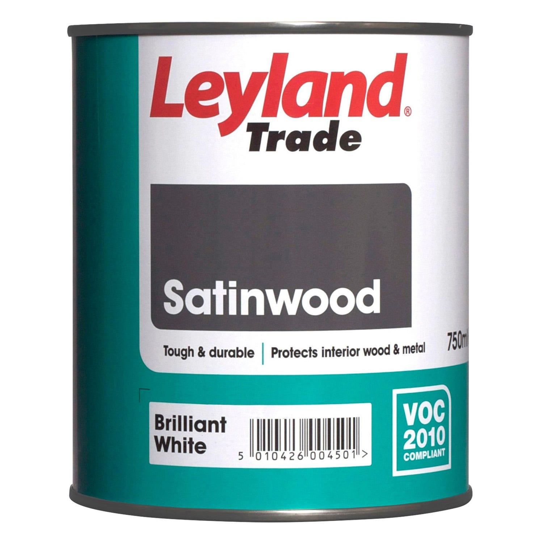 Image of Leyland 750ml Satinwood Paint, Brilliant White