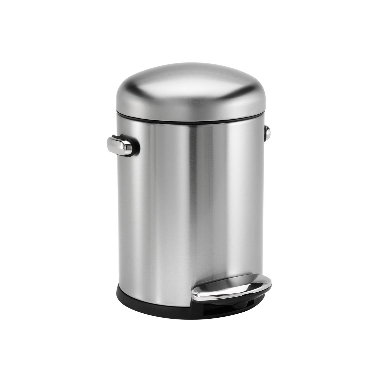 Image of Simplehuman 4.5l Retro Bin, Brushed Steel
