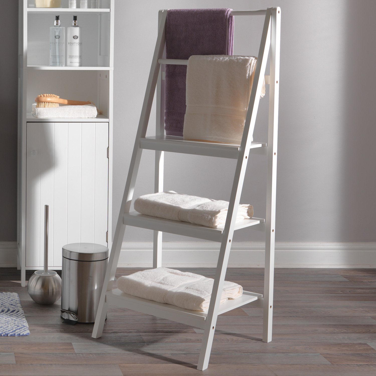 Casa Newport Ladder Bathroom Storage Shelf, White | Leekes