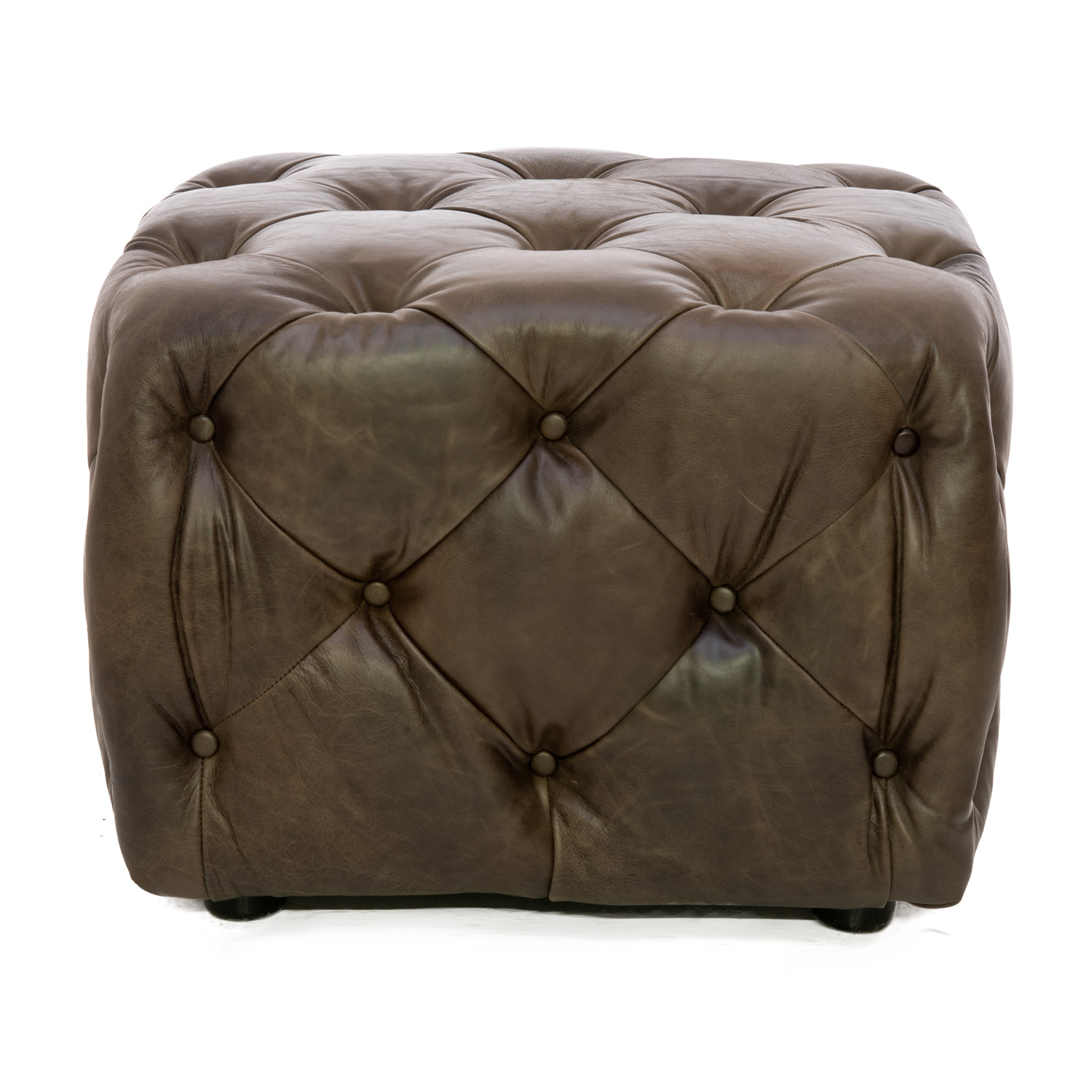 Image of Alexander & James Button Small Leather Footstool