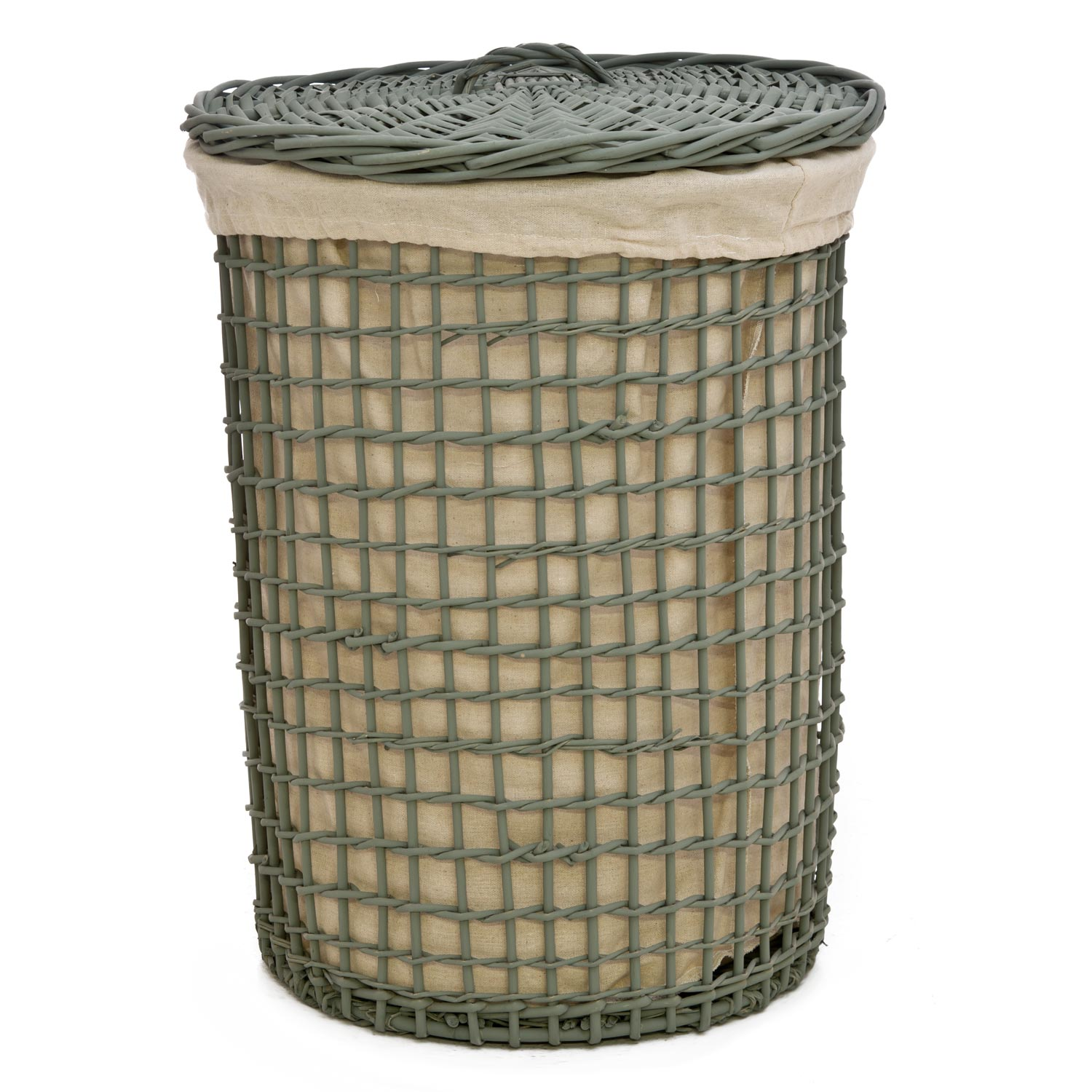 Image of Casa Circular Willow Basket, Medium, Green