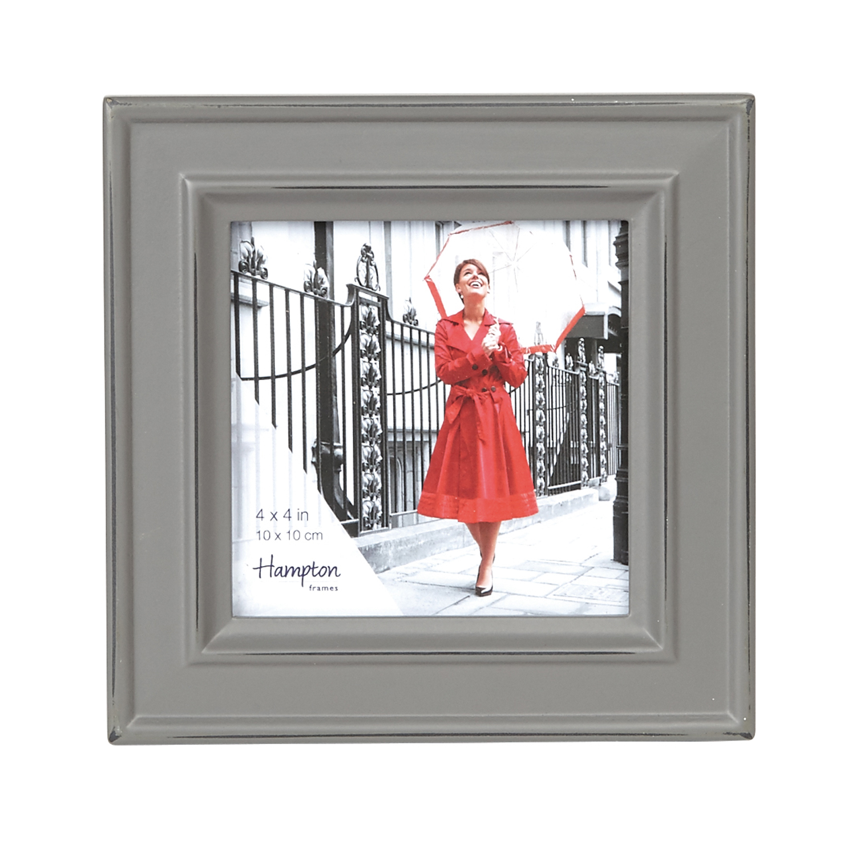 Hampton Frames Paloma 4x4 Photo Frame, Stone Grey   Leekes