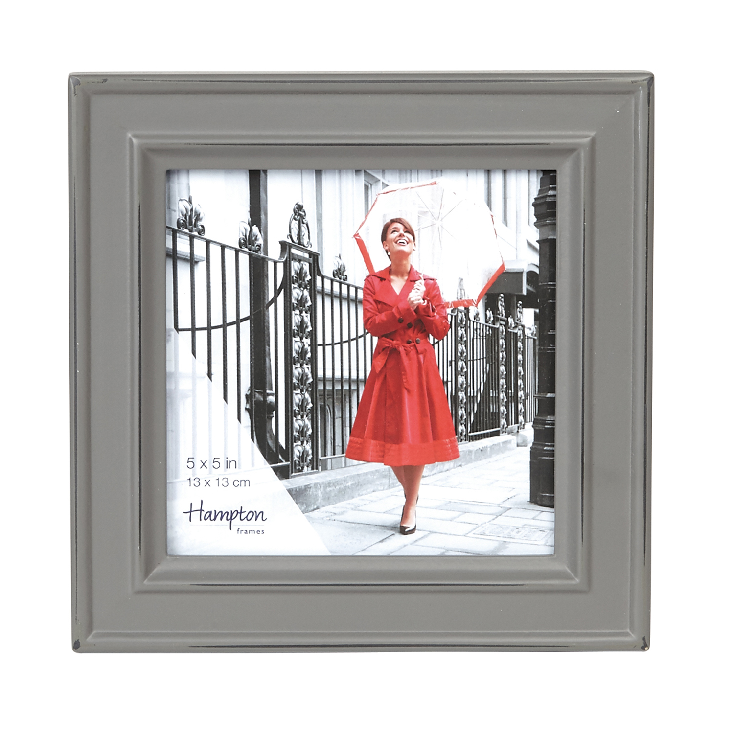 Hampton Frames Paloma 5x5 Photo Frame, Stone Grey | Leekes