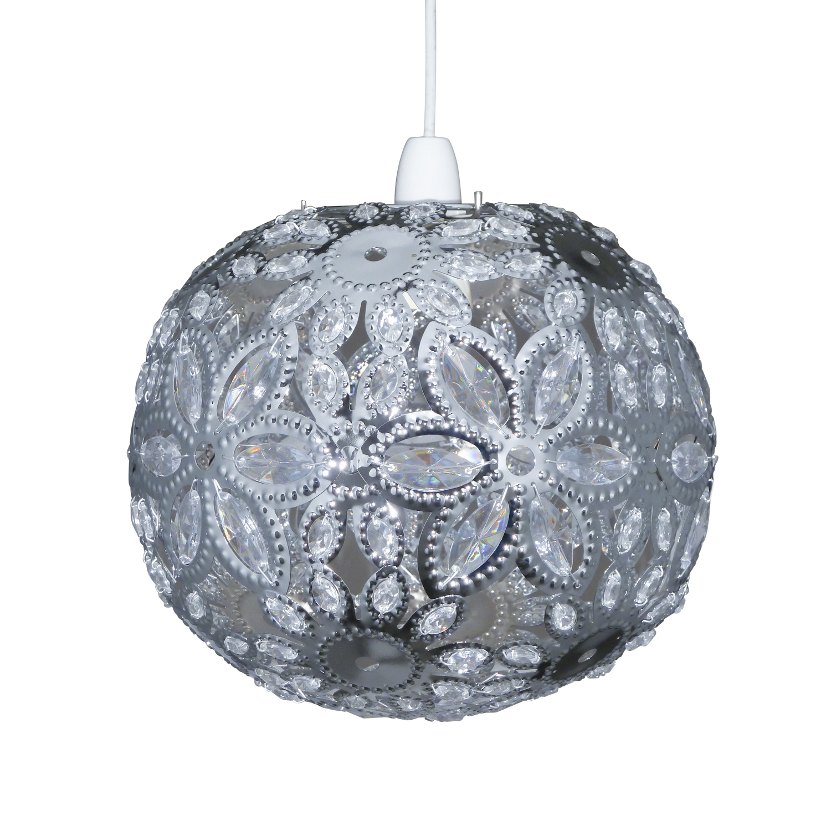 Image of Casa Ashanti Floral Ball Ceiling Shade, Chrome