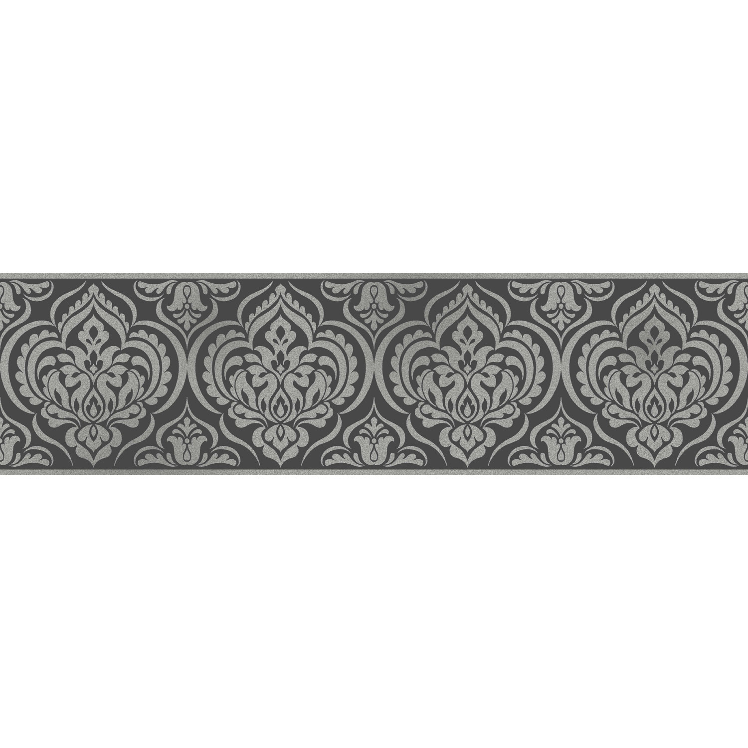 Fine Decor Glitz Ornamental Damask Wallpaper Border Black S
