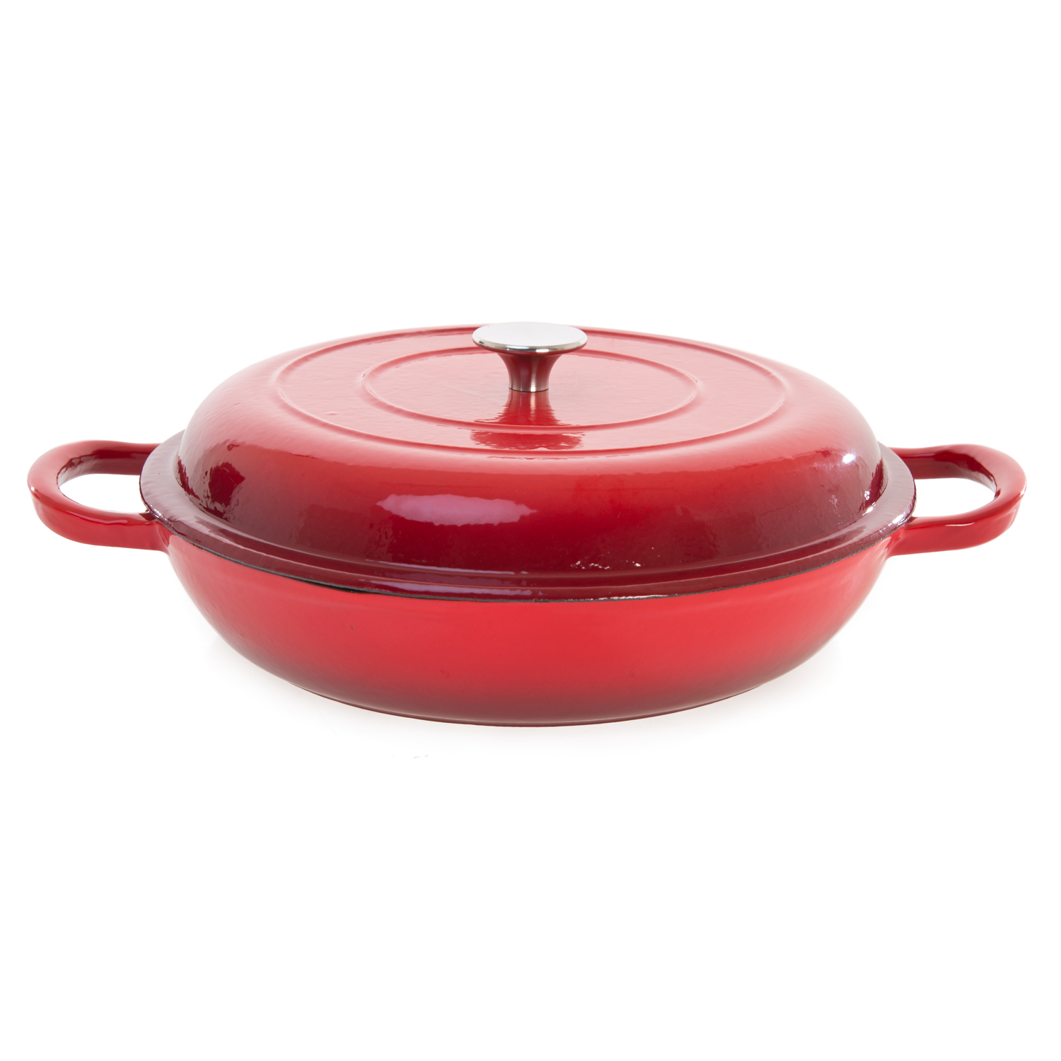 Image of Casa 30cm Cast Iron Shallow Casserole Dish, Red Ombre