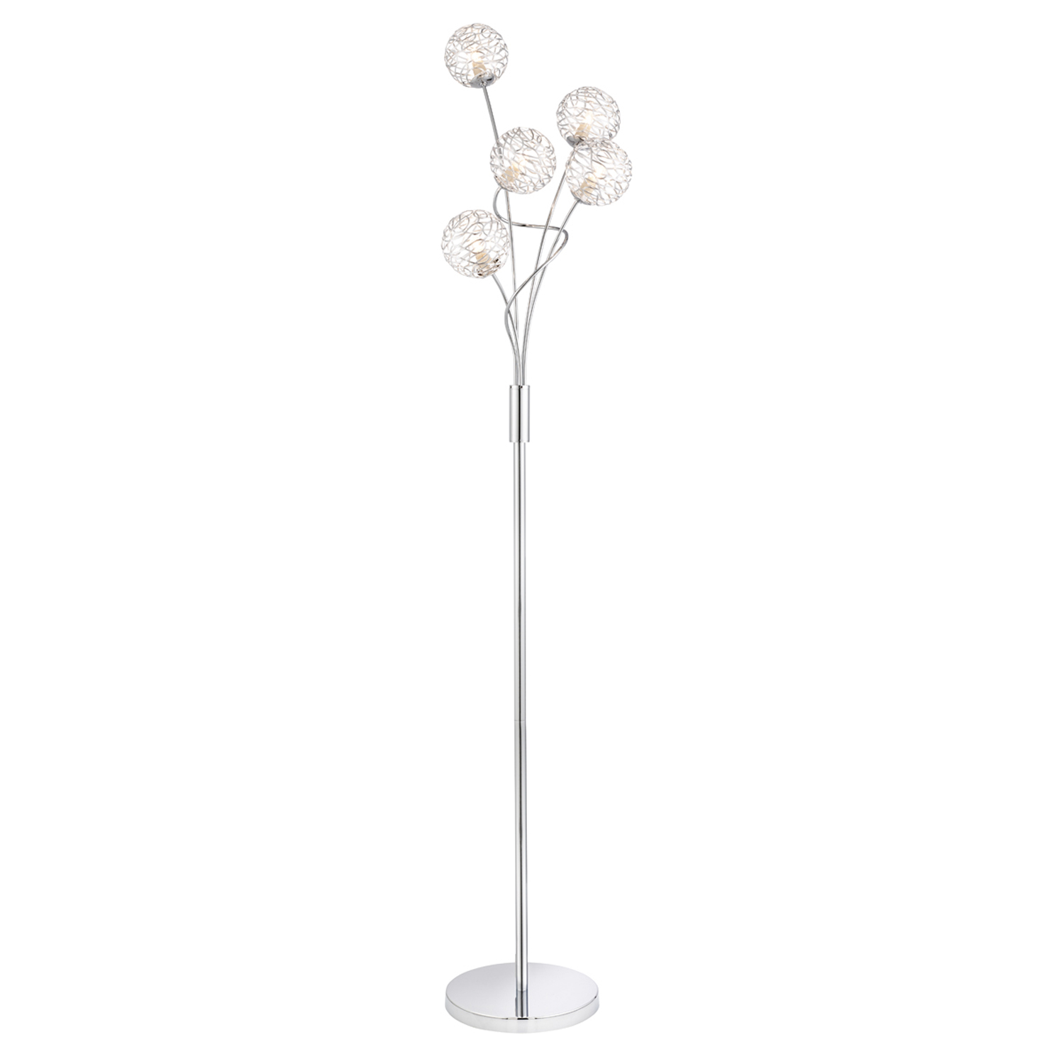 Metal ball stack floor lamp silver for Floor lamp with metal balls