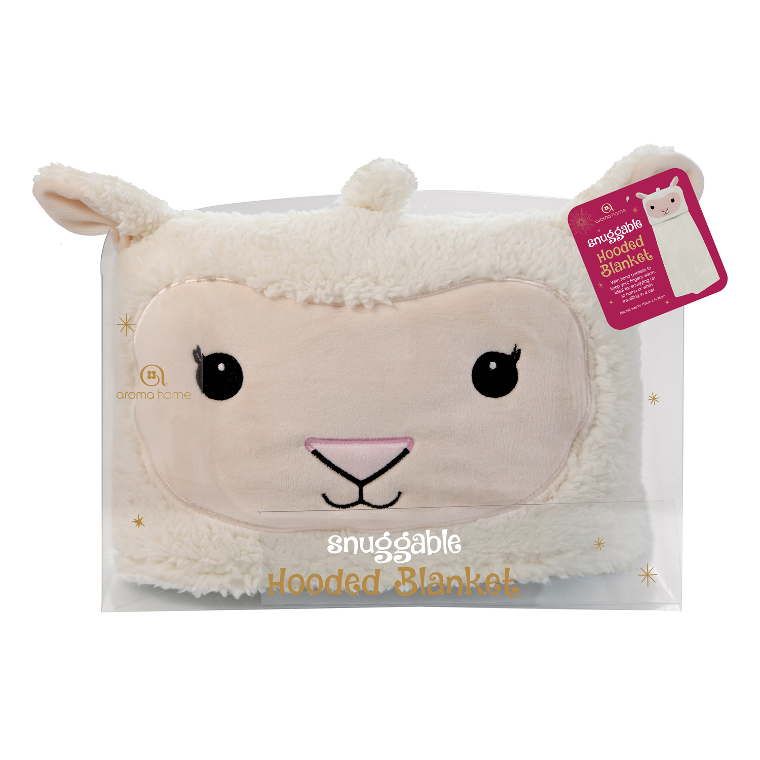 Aroma Home Hooded Baby Blanket Lamb, Cream