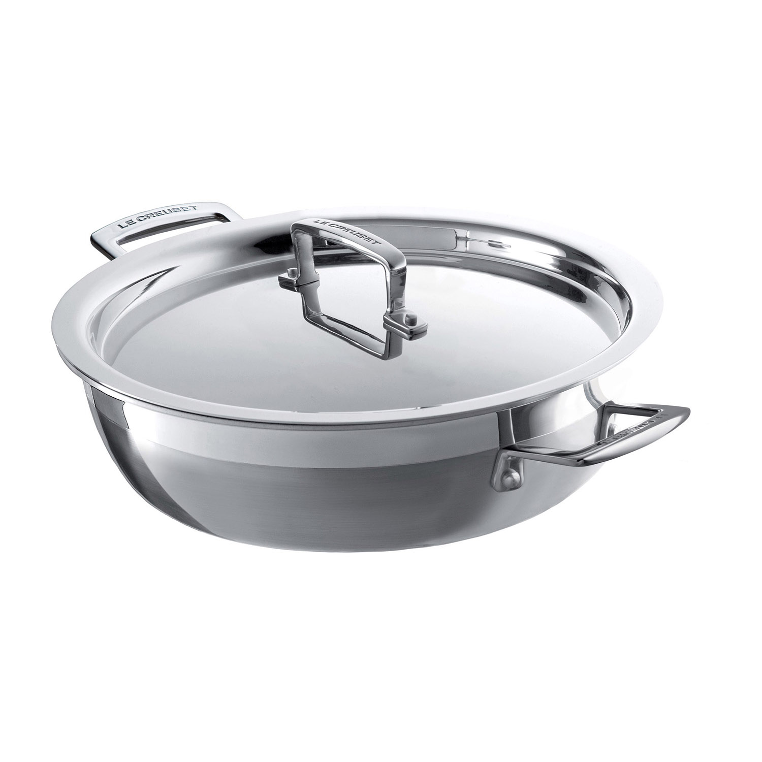 Image of Le Creuset 3-Ply shallow Casserole with Lid, 24cm, Stainless Steel