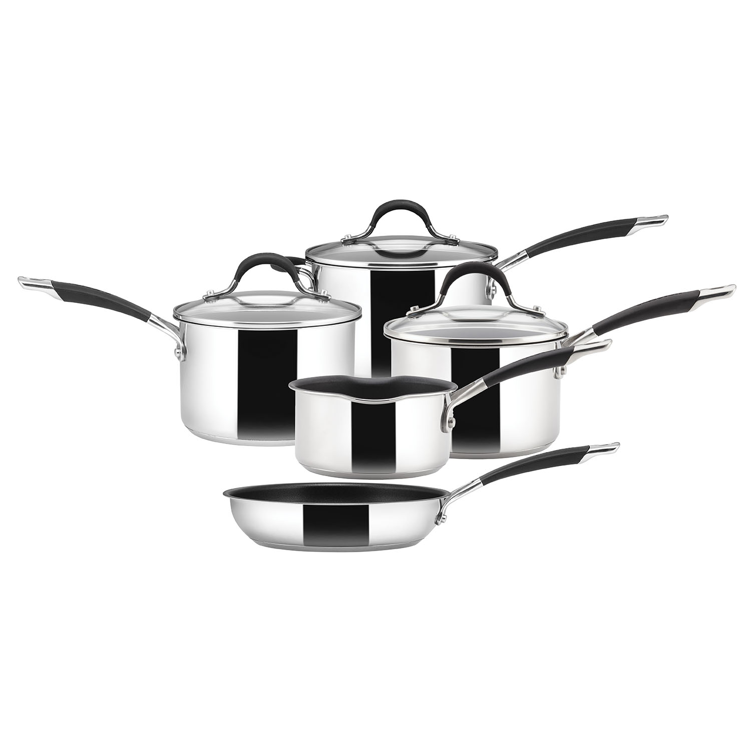 Image of Circulon Momentum 5 Piece Stainless Steel Saucepans Set