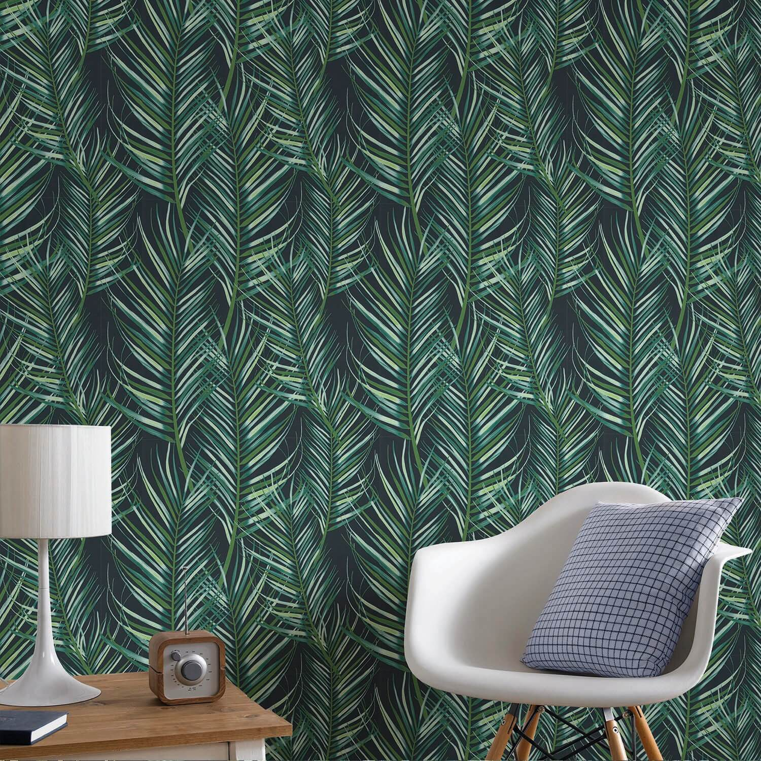 Image of Graham & Brown Palm Leaves Wallpaper, Green