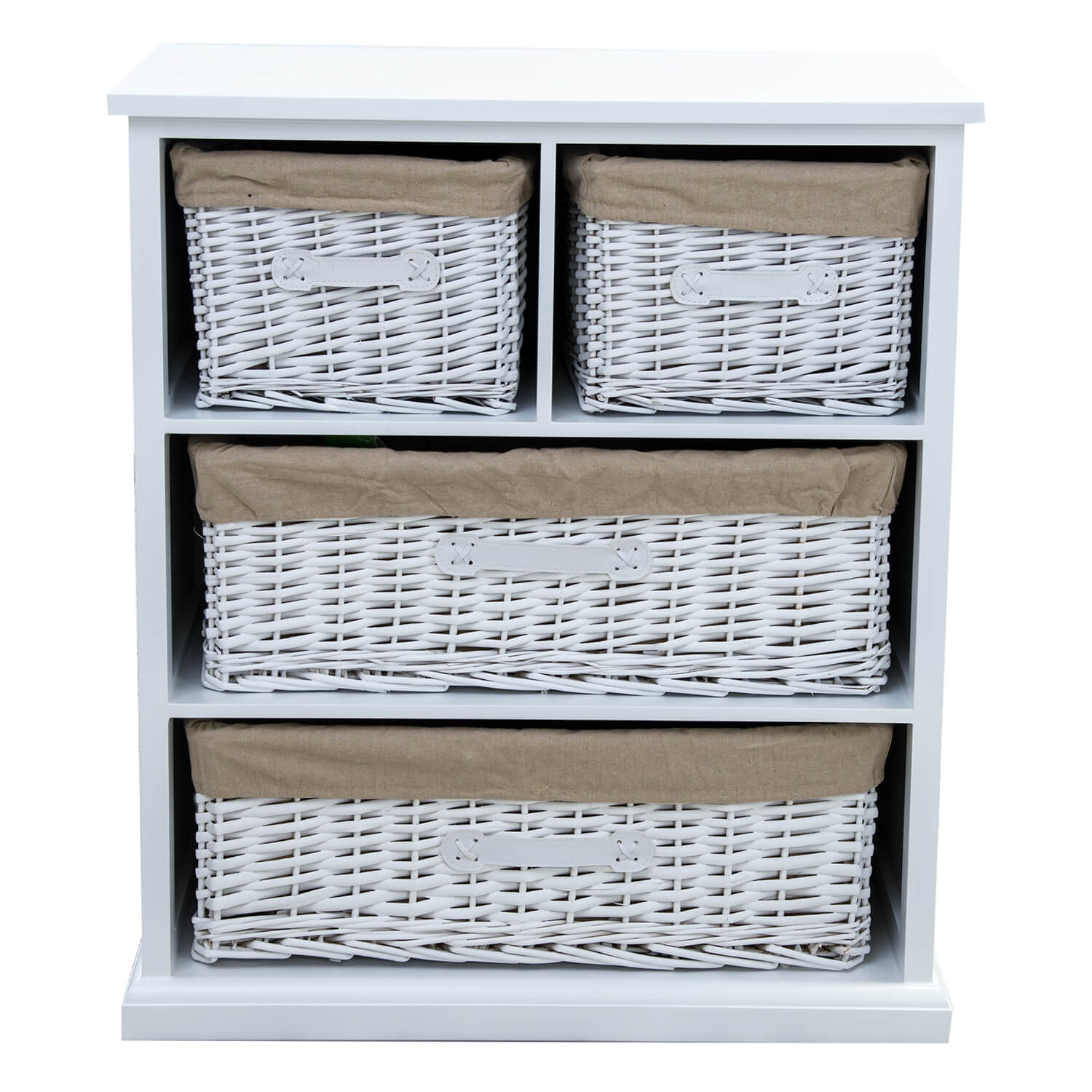 Image of Casa Cabinet with Bamboo Drawers, White