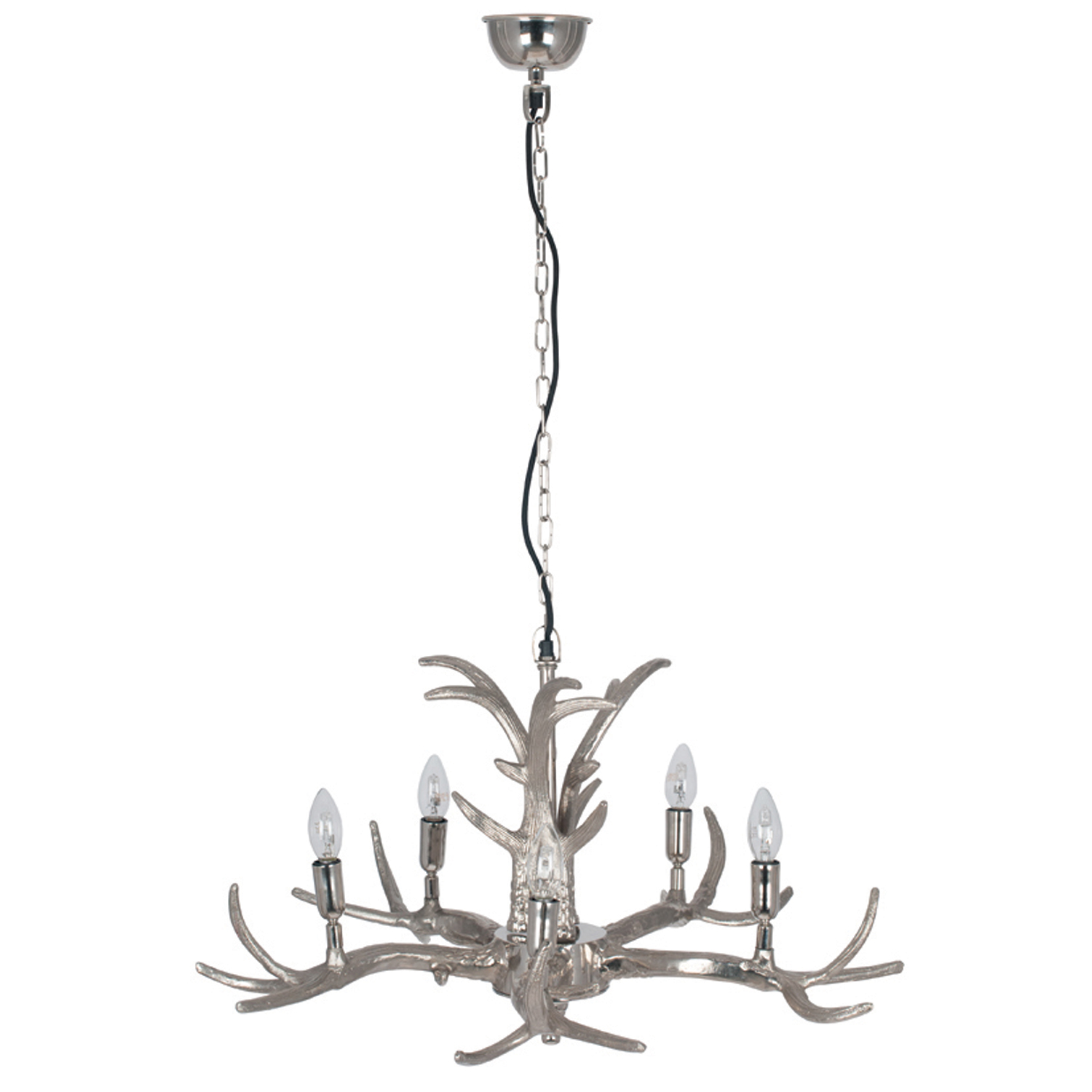 Image of Aimbry 5 Arm Antler Chandelier, Silver