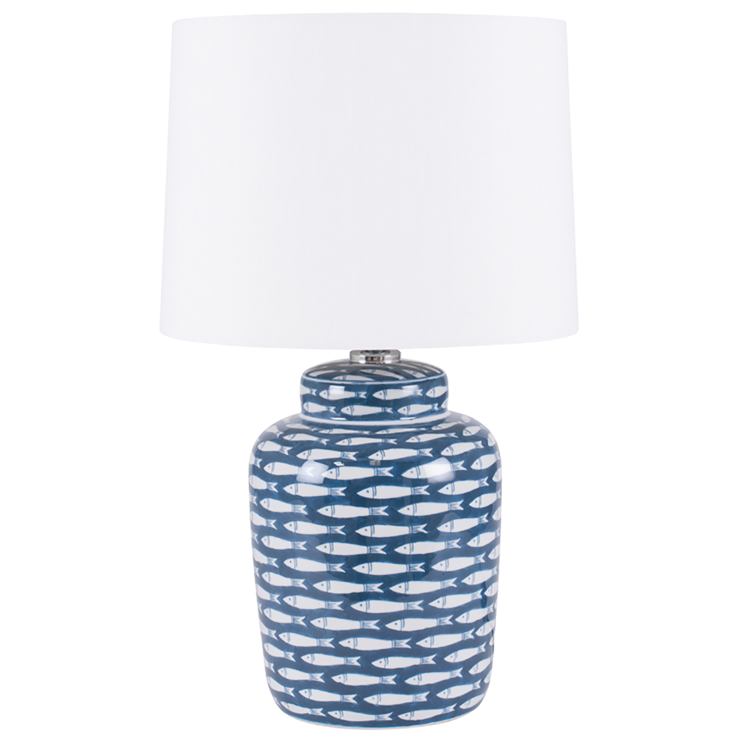 Image of Aimbry Fish Cermaic Table Lamp, Blue & White