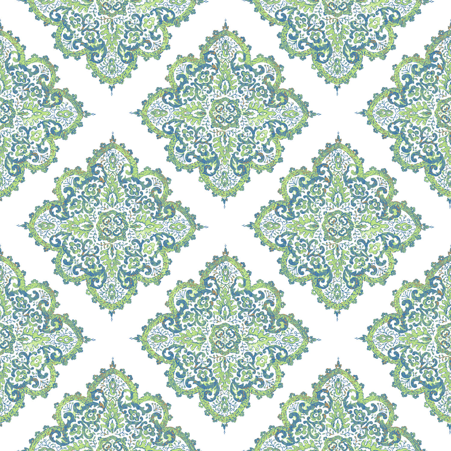 Image of Galerie Classic Print Wallpaper, Green/ Blue